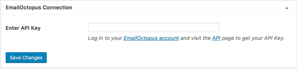 EmailOctopus connection settings